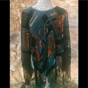 Jackets & Blazers - Velvet Poncho with fringe